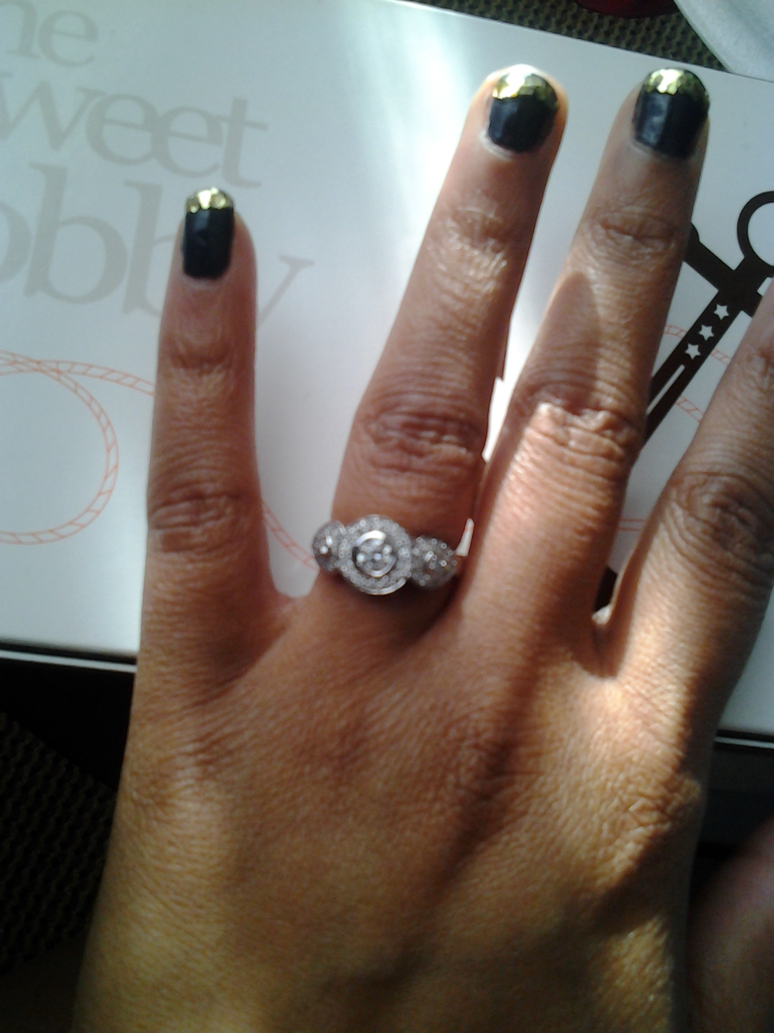 The gallery for --> Wedding Ring On Finger With Engagement ...